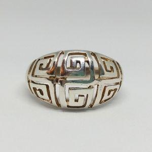 Greek Key Dome Ring Sterling Silver